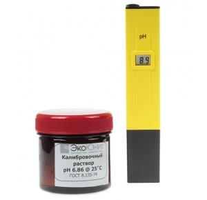 Комплект бюджетный прибор для измерения pH воды с калибровочным раствором ph6.86
