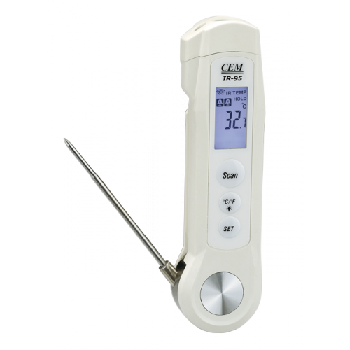 IR-95 2 в 1 Пирометр-термометр со щупом - 40°С до +280°С, зонд - 40°С до +200°С, Оптическое разрешение 4:1, разр. 0,1 °С
