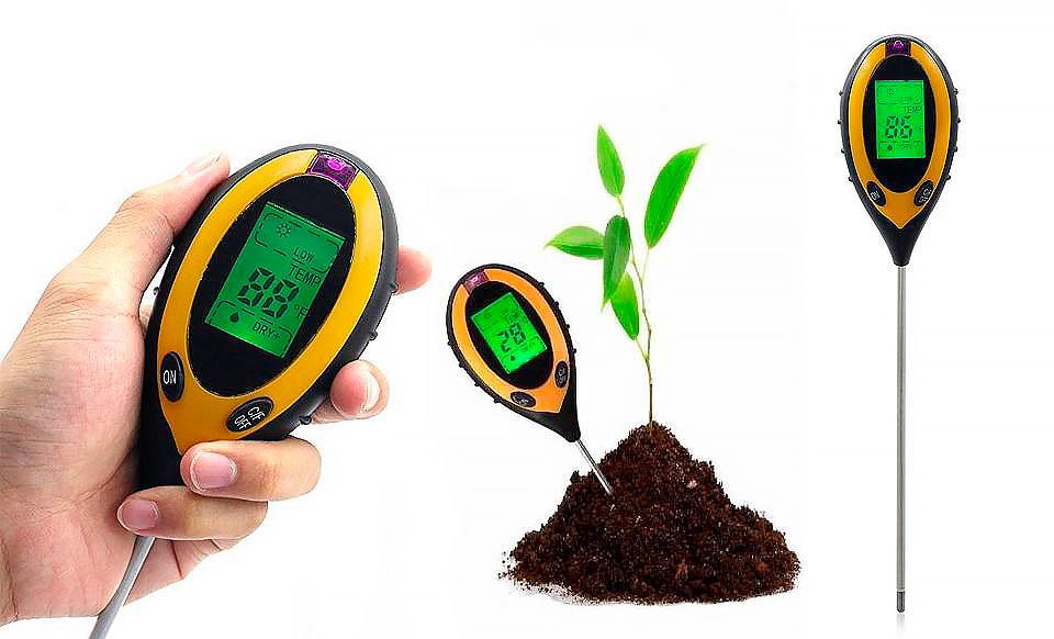 измерение рН почвы с помощью прибора ph метра